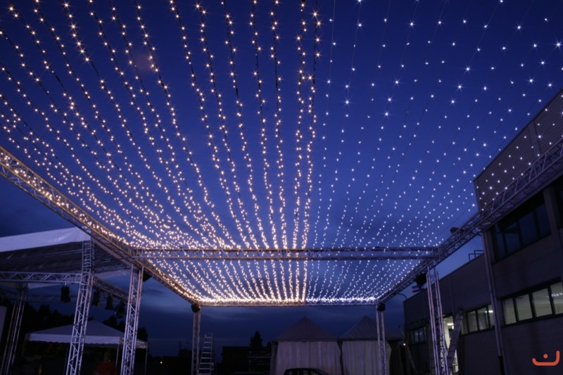 Fairy Light Ceiling: fairy lights like ceiling of stars above the dinner tables,Lighting